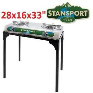 NEW STANSPORT PROPANE STOVE 213 245457748 WITH STAND 2 BURNER STAINLESS STEEL STOVE OUTDOORS 28x16x33