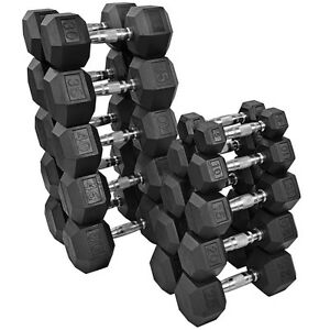 Northern Lights 5 - 50 LB Rubber Hex Dumbbell Set (550Lbs)