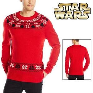 NEW STAR WARS XMAS SWEATER MEN'S LG RED CHRISTMAS SWEATER 78549407