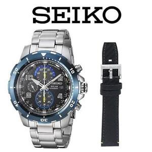 USED MEN'S SOLAR WATCH + STRAP SSC637 210504688 SEIKO JEWELLERY JEWELRY STAINLESS STEEL LEATHER STRAP JIMME JOHNSON