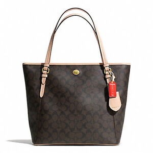 Coach Brown Leather Peyton Signature Tote