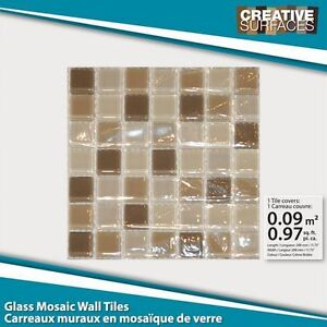 Creative Surfaces-Creme Brulee Mosiac Glass Wall Tile
