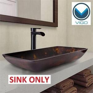 NEW VIGO VESSEL BATHROOM SINK   Rectangular Glass Vessel Bathroom Sink, Brown and Gold Fusion HOME PLUMBING 93353734