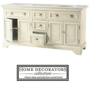"NEW HDC SADIE 67"" DOUBLE VANITY HOME DECORATORS COLLECTION - ANTIQUE CREAM W/MARBLE TOP IN WHITE BATH BATHROOM  80495613"