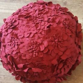 Red Pouffe with flowers