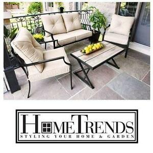NEW* HOMETRENDS PARKLAWN 3 PC SET TILE TOP CONVERSATION SET - PATIO FURNITURE OUTDOOR LIVING