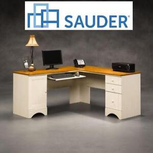 NEW SAUDER CORNER COMPUTER DESK 403793 188644051 HARBOR VIEW ANTIQUED WHITE/AMERICAN CHERRY