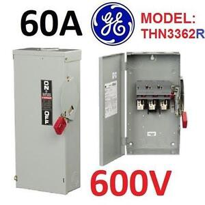 NEW GE 60AMP 3R SAFETY SWITCH - 109322114 - Heavy Duty Stainless Steel Nema 3R Non-Fusible Switch; 60 Amp, 3 Pole, 600V