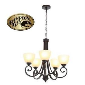 NEW HAMPTON BAY 5-LIGHT CHANDELIER RENAE 5-LIGHT OIL RUBBED BRONZE CHANDELIER Home Lighting Ceiling Hanging Light