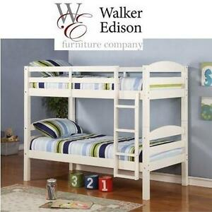 NEW WE TWIN SOLID BUNK BED - 108175993 - WALKER EDISON TWIN SOLID WOOD BUNK BED WHITE