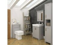 New Chatsworth Traditional Grey Vanity - 560mm Wide WITH SINK Victorian Plumbing