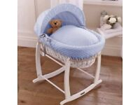 Brand New Clair de Lune White Wicker Moses Basket (Dimple Blue)