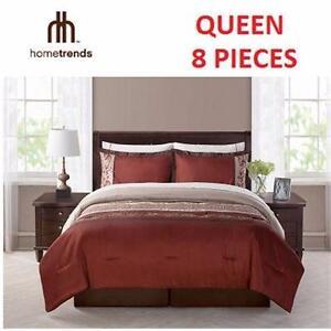 NEW HOMETRENDS QUEEN BED-IN-A-BAG   8 PIECES - MAROC BURGUNDY CREAM HOME BEDDING BEDROOM BLANKET COMFORTER 93778853