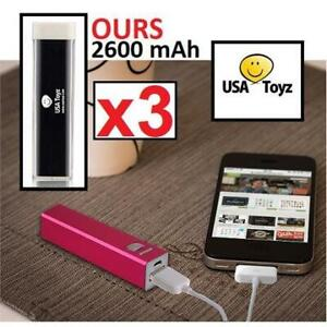 3 NEW USA TOYZ PORTABLE CHARGER 227290524 2600 mAh UNIVERSAL QUADCOPTER DRONE USB EXTERNAL BATTERY PACK MOBILE CELL P...