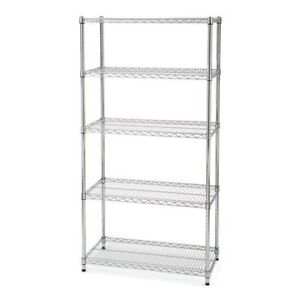 Large, strong 5-Shelf Wire Shelving Unit (Chrome)