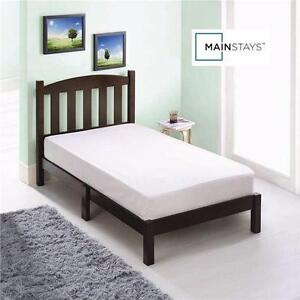 """NEW* MAINSTAYS TWIN WOOD BED ESPRESSO FINISH - 42""""H x 78-3/4""""W x 41-3/4""""D - Mattress not included  83229635"""