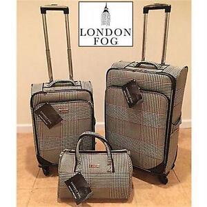 NEW LONDON FOG 3PC LUGGAGE SET BLACK/WHITE HOUNDSTOOTH - ULTRA LIGHT SUITCASE SPINNER TRAVEL GEAR BAG