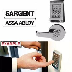 NEW SARGENT ASSA ABLOY KEYPAD ENTRY LOCK SATIN CHROME STAND ALONE ENTRY W/ CYLINDRICAL LOCK DOOR HOME SECURITY 96907367