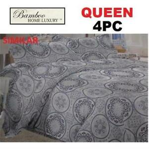 NEW BAMBOO 4PC BED SHEET SET QUEEN 1122K 238756222 HOME LUXURY 9500 QUEEN THREAD COUNTS WRINKLE FREE BEDDING BEDROOM ...