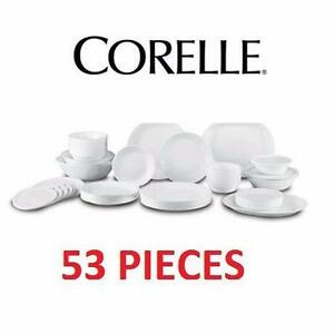 NEW CORELLE 53 PC DINNERWARE SET MICROWAVE AND OVEN SAFE KITCHEN DINING WARE BOWLS PLATTER PLATES 97769951