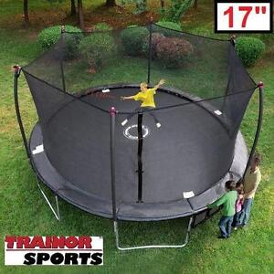 NEW TRAINOR SPORTS 17' TRAMPOLINE - 129016459 - WITH ENCLOSURE AND SHOOTER GAME
