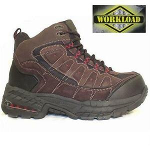 NEW WORKLOAD SAFETY BOOTS MEN'S 10 TITANIUM COATED TOE SHOE - BROWN - CSA WORK - STEEL TOE WORK