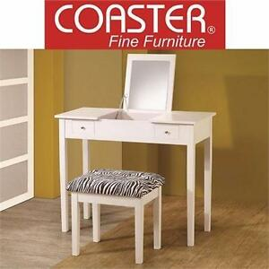 NEW COASTER TWO PIECE VANITY SET   WHITE HOME BEDROOM FURNITURE MAKEUP TABLE 99089857