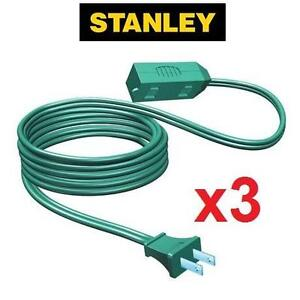 3 NEW STANLEY EXTENSION CORDS 15' CORDMAX 15 FEET - 3-OUTLET - INDOOR OUTDOOR HOLIDAY LIGHTING ELECTRICAL 106844760