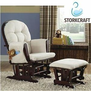 NEW STORKCRAFT HOOP GLIDER   WITH OTTOMAN - CHERRY/BEIGE HOME FURNITURE ROCKING CHAIR BABY NURSERY 93677614