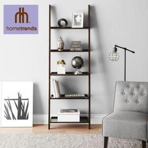 NEW 5-TIER SOLID WOOD BOOKCASE S296.1021 189817272 SOLID WOOD ESPRESSO LEANING BOOKCASE HOMETRENDS