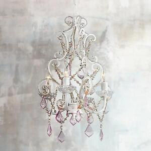 Pink and white beaded chandelier - with swag cord/mount options
