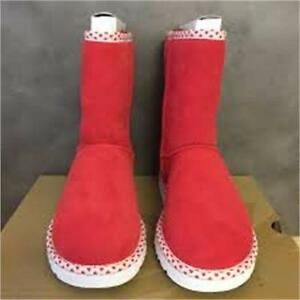 NEW, Genuine UGG Australia Women's Classic Short Hearts Boot- Red Hot 6,7,8