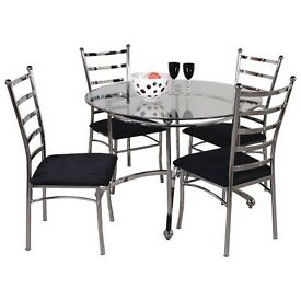 Chrome & Glass Dining set with 4 chairs