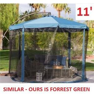 NEW 11' OFFSET PATIO UMBRELLA 134122528 WITH MOSQUITO NET FORREST GREEN
