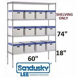NEW SANDUSKY HEAVY DUTY WIRE SHELF 4 SHELVES - CHROME FINISH ADJUSTABLE - STORAGE ORGANIZATION SHELVING STORAGE 98623746