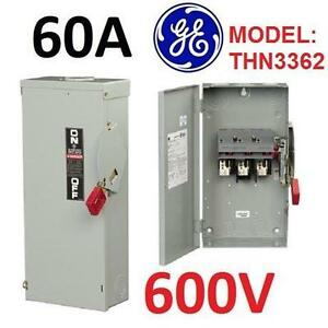 NEW GE 60A 3P SAFETY SWITCH Business  IndustrialElectrical  Test EquipmentConnectors, Switches  Wire 105901963