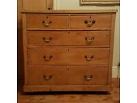 Antique pine chest of drawers ( free local delivery)