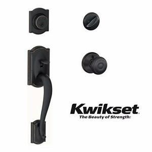 NEW SCHLAGE CAMLOT TRIM HANDLESET   Georgian Aged Bronze Camelot Trim Single Cylinder Handleset Knob  85350986