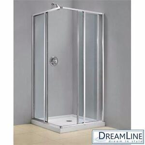 "NEW DREAMLINE 34.5 SHOWER ENCLOSURE   CORNERVIEW ENCLOSURES 34.5"" x 34.5"" FRAMED SLIDING DOORS BATH BATHROOM 91883500"