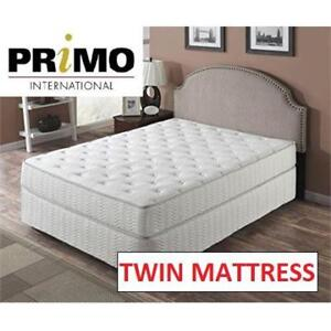 "NEW SATURN 8"" TWIN MATTRESS SATU-TWYX1699 188372478 PRIMO INTERNATIONAL POCKET COIL WHITE"