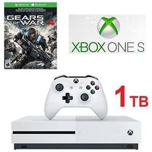 NEW XBOX ONE S GOW4 CONSOLE BUNDLE VIDEO GAME CONSOLE - 1TB - GEARS OF WAR 4 BUNDLE - WHITE 106608594