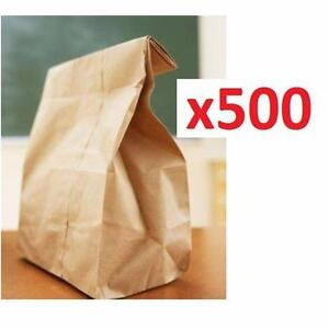 500 NEW BROWN PAPER SANDWICH BAGS #6 KRAFT  RETAIL SANDWICH LUNCH PAPER BAG TAKEOUT 92239209