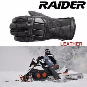 NEW RAIDER SNOWMOBILE GLOVES 2XL ONE PAIR - LEATHER - BLACK - OUTDOORS WINTER  89952486