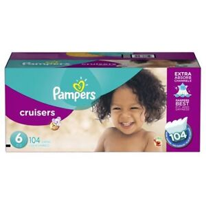 Pamper cruisers diaper size 6, 104 counts, economy pack