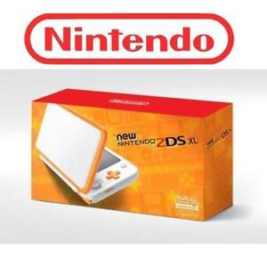 OB NINTENDO 2DS XL GAME CONSOLE 170729284 WHITE AND ORANGE HANDHELD OPEN BOX