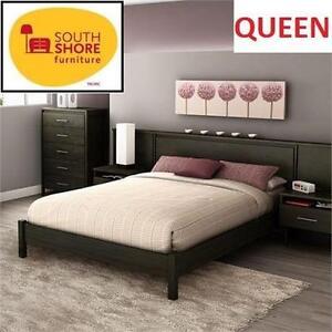 NEW* SOUTH SHORE QUEEN PLATFORM BED EBONY GRAVITY - DECOR Home  Kitchen › Furniture › Bedroom Furniture 103010342