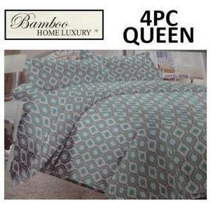 NEW BAMBOO 4PC BED SHEET SET QUEEN HAPS3500Q 224965073 HOME LUXURY 3500 THREAD COUNTS WRINKLE FREE BEDDING BEDROOM