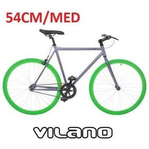 NEW VILANO FIXED GEAR BIKE 54CM 700-TRACK-GRY-GRN-54 186231234 SINGLE SPEED GREY/GREEN MEDIUM 700C BICYCLE