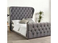 Oxford Plush Velvet Wing Bed Frame Only**SALE PRICE