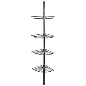 Hometrends Tub and Shower Tension Pole Caddy, 4 Shelf, Chrome